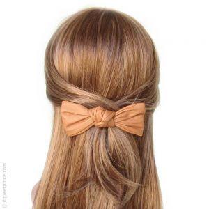 Barrette à cheveux noeud couleur pêche