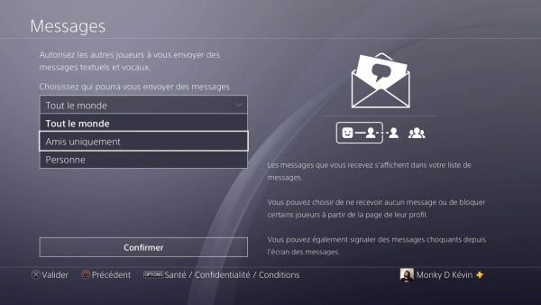 message PS4